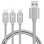 PURIDEA L10 - 3in1 (Lightning,Type-C,microUSB)-1.5m (Silver)